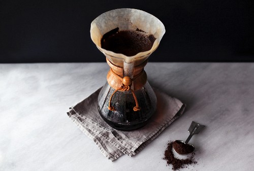 Filter coffee being made with a Chemex coffee jug
