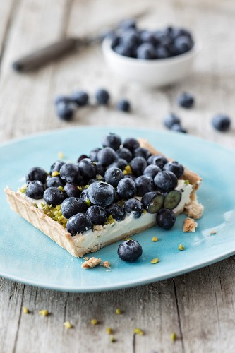A piece of blueberry tart