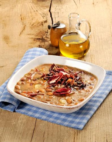 Zuppa di borlotti e radicchio (bean and radicchio soup, Italy)