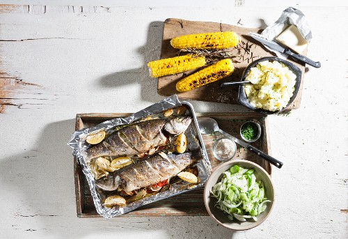 Oven roasted trout with corn cobs and sweetcorn purée (seen above)