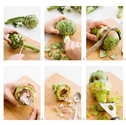 A fresh artichoke being prepared