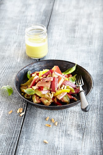 Rhubarb salad with peppers and pine nuts