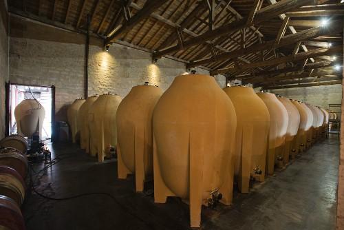 Concrete fermenting tanks at Château Pontet-Canet,