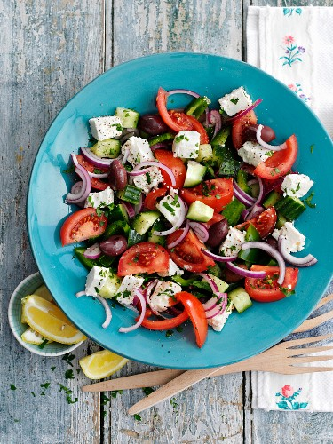 Greek salad with red onions and feta cheese