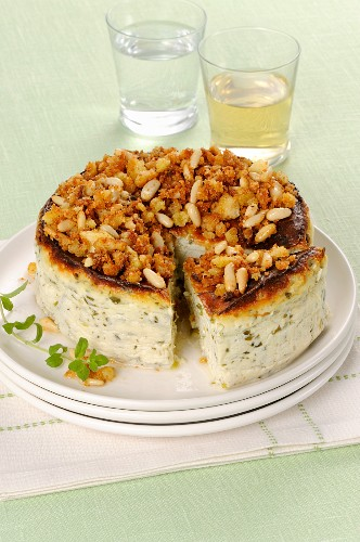 Ricotta and herb cake with a pine nut and bread crumble
