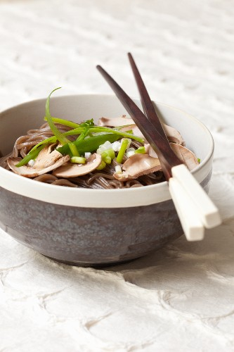 Soba noodles with mushrooms and spring onions (Japan)