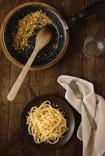 Homemade pasta with breadcrumbs
