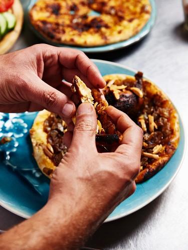 Musakhan sumach chicken on taboon unleavened bread (Palestine)