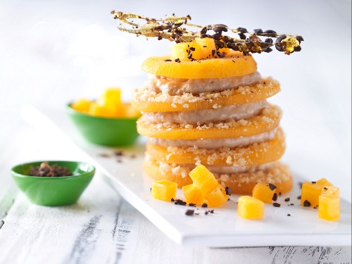 A persimmon tower with espresso cream