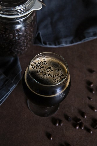 Stout beer and coffee beans