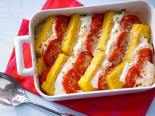 Polenta, cheese and tomato bake