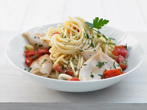 Spaghetti with calamaretti and fresh tomatoes