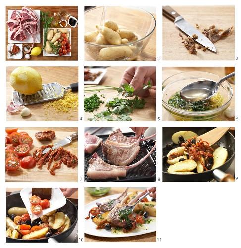 Gegrillte Lammkoteletts mit Kräuter-Oliven-Kartoffeln zubereiten