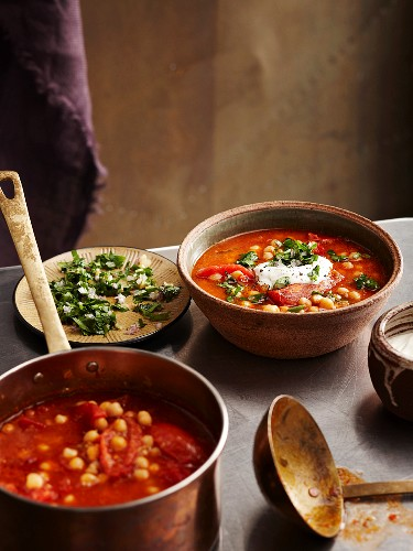 Roast tomato & Chickpea Soup with Chermoula