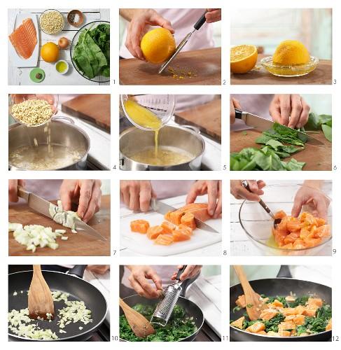 Lachs-Spinat-Pfanne mit gekochtem Orangen-Weizen zubereiten