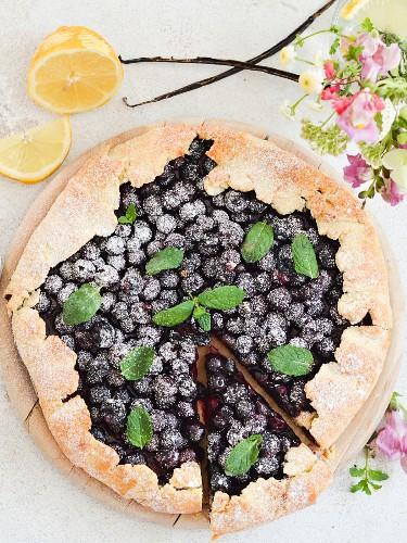 Blueberry pie with lemon zest
