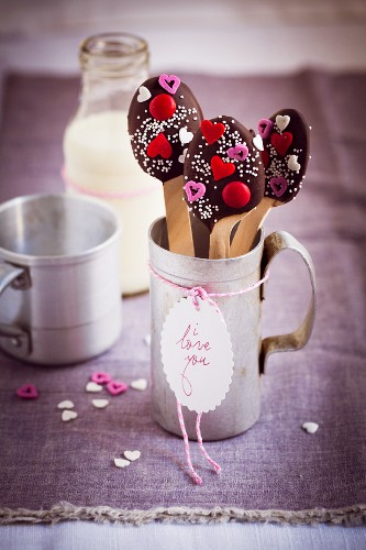 Chocolate spoons and a bottle of milk (Valentine's Day)