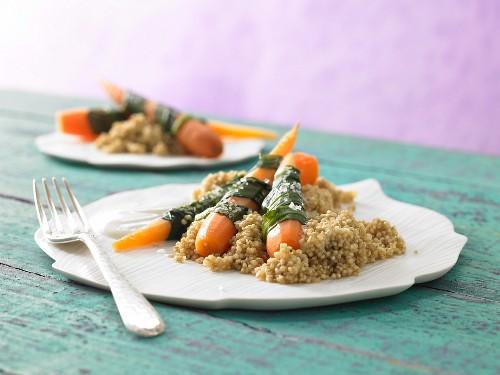 Steamed wild garlic & carrots with quinoa