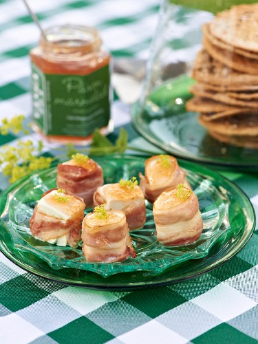 Feta wrapped in bacon with pear and ginger jam