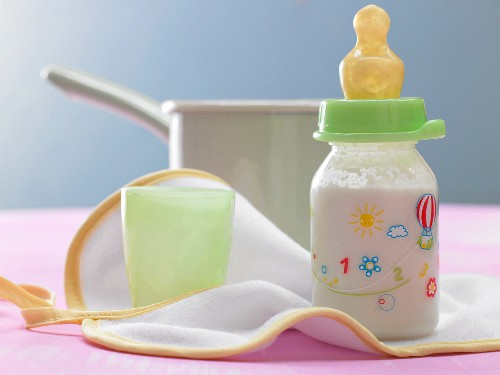 A baby food drink with apple juice