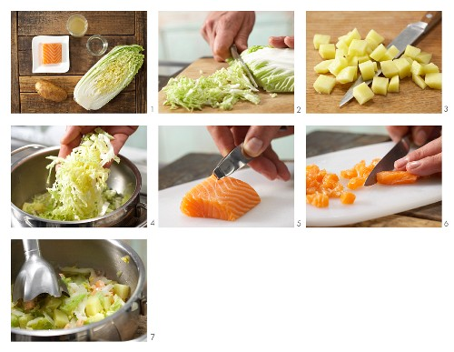 How to prepare Chinese cabbage purée with salmon