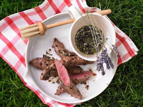 Marinated saddle of lamb fillet with lavender
