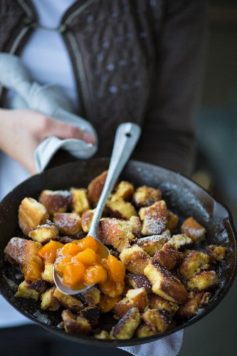 Kaiserschmarrn (Austrian shredded pancake) with apricot compote at Oktober Fest