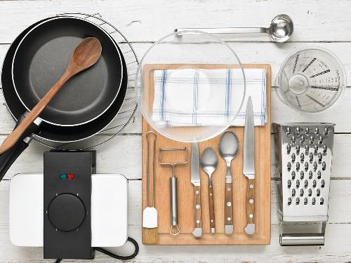 Kitchen utensils for preparing asparagus and potato waffles