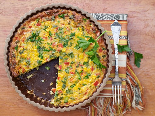 Mexican pepper and sweetcorn bake