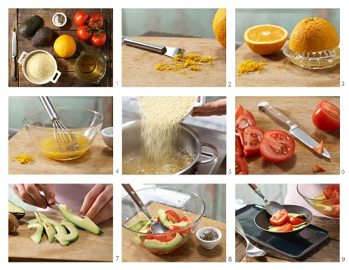 How to prepare orange couscous with avocado and tomato salad