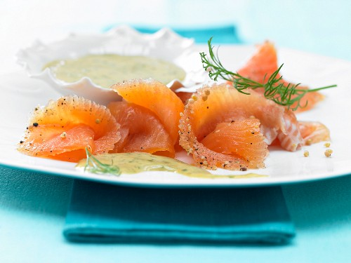 Pickled char fillets with honey and mustard sauce