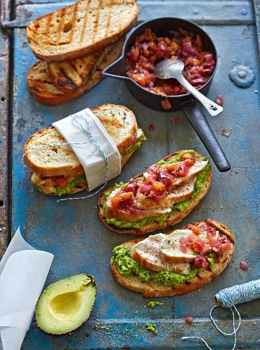 Australian chicken sandwiches with avocado cream and onion chutney