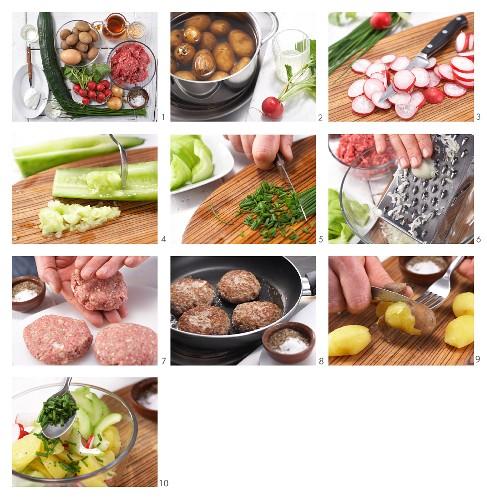 How to prepare onion burgers with potato salad
