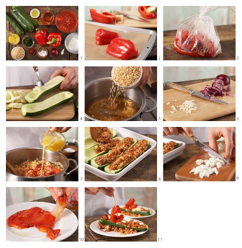 How to prepare courgette filled with soya, tomatoes and red pepper