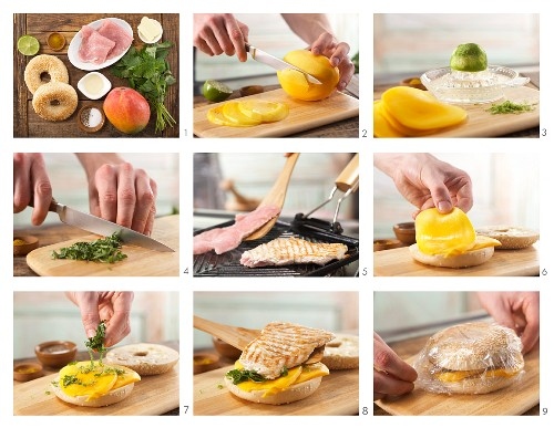 How to prepare a bagel with turkey, mango and lemon balm