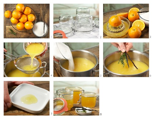How to prepare orange and thyme jam with vanilla pulp