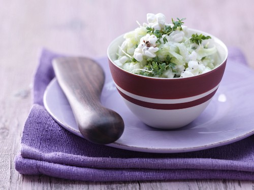 Cream cheese and cucumber spread with garden cress