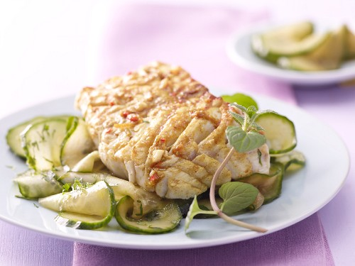 Grilled curry coalfish with Thai cucumber salad