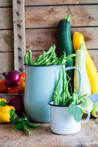 Fresh vegetables: green beans, courgette, peppers, tomatoes and onions