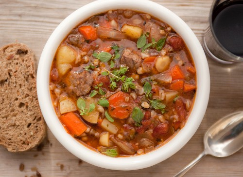 Beef & barley stew with carrots (seen from above)