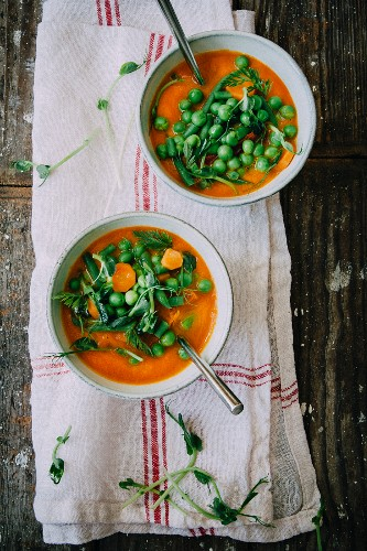 Minestrone with fresh peas, carrots, pea shoots and herbs