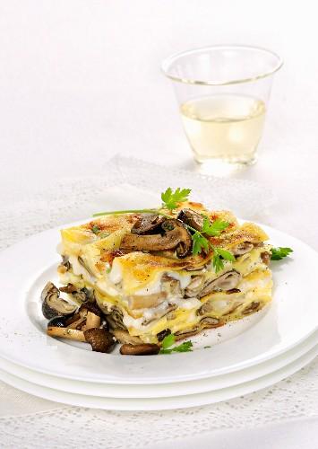 Mushroom lasagne with pioppini mushrooms