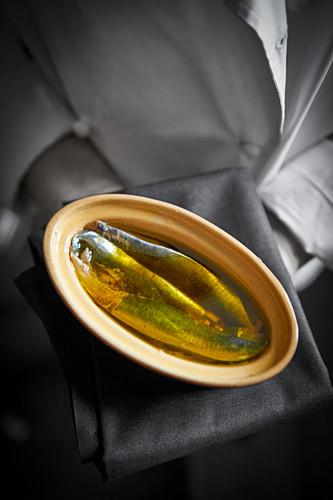 A chef presenting a fish terrine