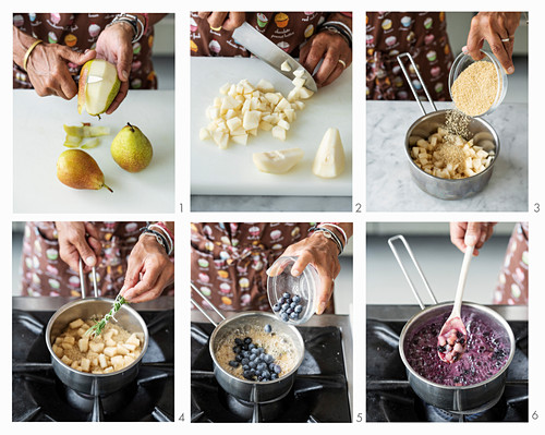 How to make pear and blueberry compote