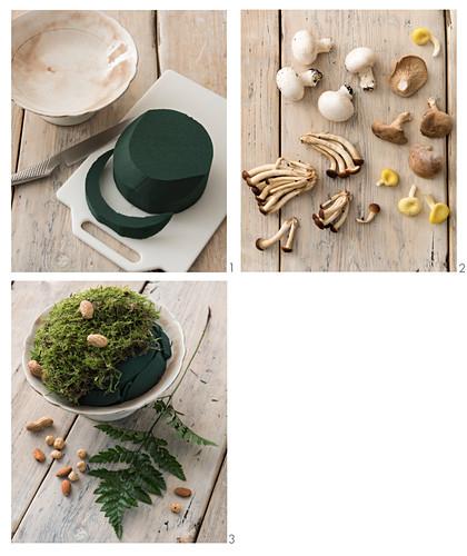 An autumnal arrangement of mushrooms being made