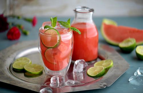 Mexican Agua fresca with water melon and lime