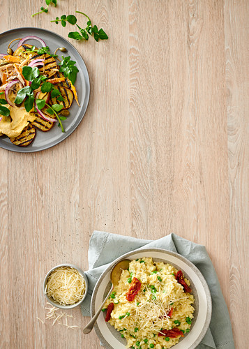 Chargrilled sweet potato salad with hummus and smoked snoek, Risotto with green peas and sun-dried tomatoes