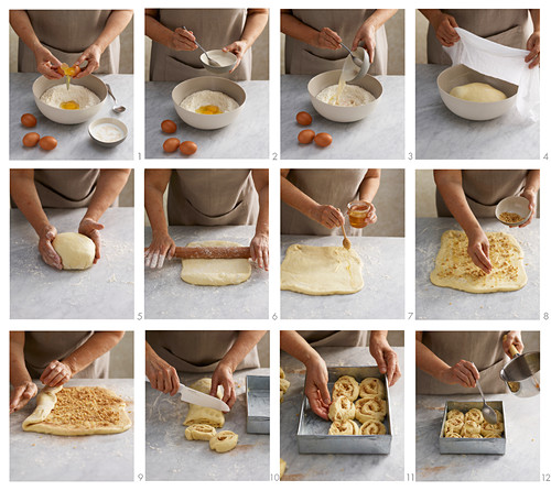 Yeast dough honey and walnut buns being made