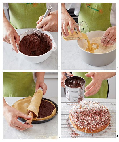 How to make a wheat cake with cocoa cream
