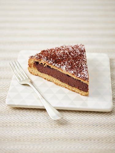 A slice of wheat cake with cocoa cream